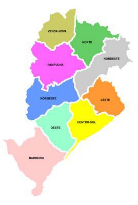 Mapa de Belo Horizonte Mapa dos Bairros de Belo Horizonte